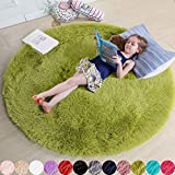 Grass Green Round Rug for Bedroom,Fluffy Circle Rug 4'X4' for Kids Room,Furry Carpet for Teen's Room,Shaggy Circular Rug for Nursery Room,Fuzzy Plush Rug for Dorm,Green Carpet,Cute Room Decor for Baby