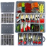 Fishing Lure Set Soft Plastic 226Pcs Fishing Lure Tackle Kit Bionic Bass Trout Salmon Pike Fishing Lure Frog Minnow Popper Pencil Crank Soft Hard Bait Fishing Lure Metal Spoon Jig Lure