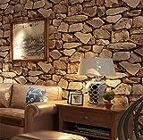 H&M Fond d'écran PVC rétro 3D stéréo Imitation Pierre Texture Papier Peint décoration Chambre TV Mur Salon Fond d'écran -10 m (L) *53 cm (W) , Dark Brown