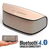 Alpatronix Bluetooth Speaker, AX420 10W Ultra Portable Compact Wireless HD Stereo w/Built-in Mic, Subwoofer, Volume/Playback Controls for Smartphones, Tablets & Computers, Indoor & Outdoor - Gold