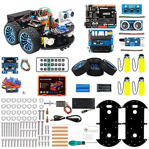 Keywishbot Smart Robot Car Kit for Arduino DIY Learning Kit, 4WD Remote Control Car with BLE Development Board, STEM Toy Robotic Kit Gift Kid Support Scratch Library