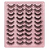 20 Pairs False Eyelashes 3D Faux Mink Lashes Natural Look Wispy Fake Eyelashes ALPHONSE 16-20MM Fluffy Volume Long Thick Lashes Pack 5 Styles Mixed