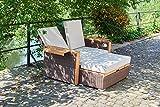 greemotion Rattan-Lounge Bahia Lanzarote, Sofa & Bett aus Polyrattan & Akazienholz, 2er Garten-Sofa mit Stahl-Gestell, Daybed zweigeteilt, braun - 8