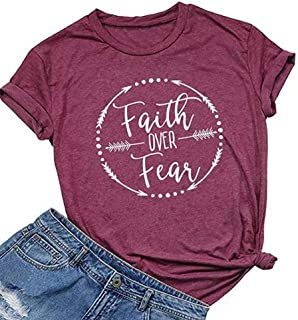 Faith Over Fear Letters Print T Shirt for Women Cute Graphic Tee Short Sleeve O-Neck Tops Tee Casual Shirt Blouse