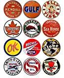 Brotherhood Vintage Gas Sign Reproduction Vintage Metal Signs Round Metal Tin Sign for Garage and Home 12 Inch Diameter – Penzbest Kendall Motor Oils Combo 1
