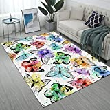 Yunine Area Rug Butterfly and Watercolor Spots for Kids Living Room Dining Dorm Room Bedroom Large Floor Mat Home Decorative 5' x 7'