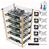 Dorhea Raspberry Pi 4 B Case, Raspberry Pi Rack Cluster Case Stacking Case with Cooling Fan and Fan Cover for Raspberry Pi 4,Raspberry Pi 3 Model B B+, Raspberry Pi 2 Model B,Pi B+ (5-Layers)