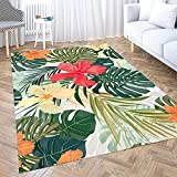 Gesmatic Play Area Rug, Small Area Rug(2X3) Summer Colorful Hawaiian Pattern Tropical Plants Hibiscus Flowers Oriental Area Rug, Suitable for Living Room, Kitchen, Outdoor
