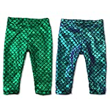 2 Pack Baby Girls Mermaid Legging Dragon Baby Costume Prop (2 Pairs Set Green & Purple Blue Hue, 6 Months)