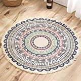Round Rug Bedroom Rug Bohemian Mandala Circle Area Rug Cotton Hand Woven Table Rug with Tassels Nursery Kids Room Carpets Children Play Mat Round Rug 3 Feet for Home Living Room Coffee Circular Rugs