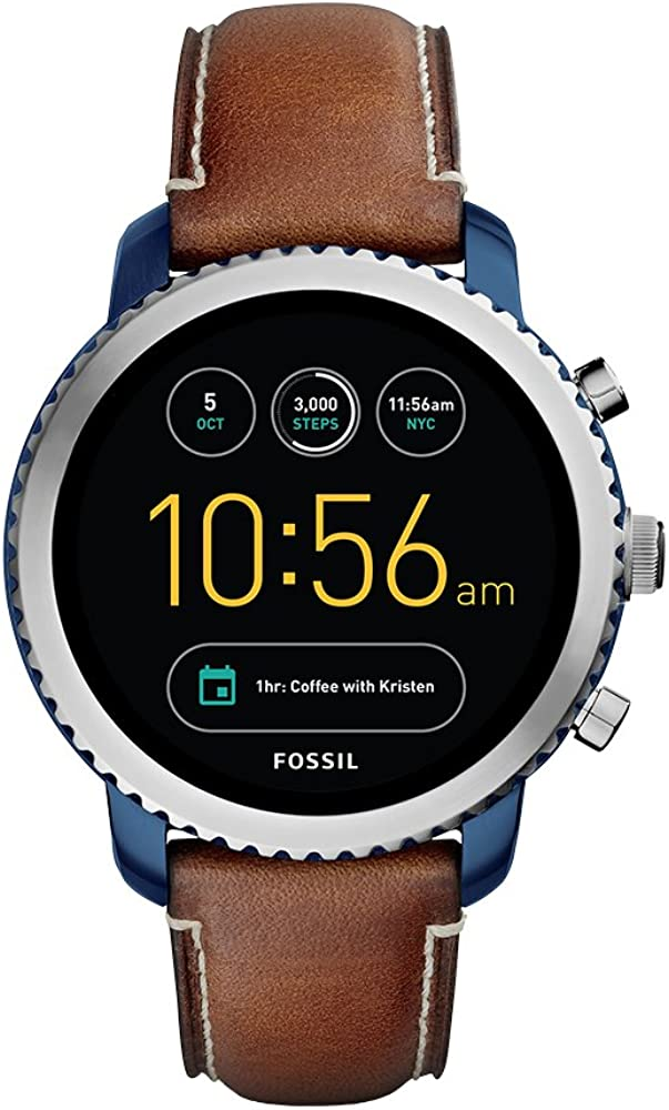 Fossil Q Men's Gen 3 Explorist Stainless Steel Quartz Watch with Leather Strap, Brown, 22 (Model: FTW4004)