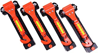 GoDeCho 4 Pack Car Emergency Escape Window Breaker and Seat Belt Cutter Hammer with Light..