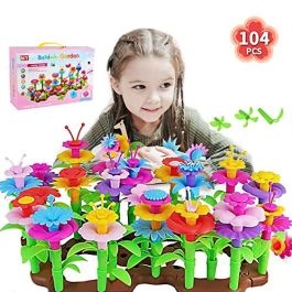 Gute Flower Garden Building Toys, Build a Bouquet Floral Arrangement Playset for Toddlers Kids Age 3, 4, 5, 6 Year Old, 104 PCS Garden Building Block Toys, Educational Creative Play Garden Stem Toys
