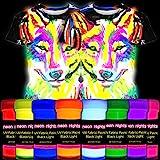 neon nights 8 x Pintura para Tejidos UV Luz Negra Pintura Textiles Lavable Tinte Ropa Camiseta Colores Nen Colorido