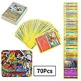 70Pcs Jeu de Cartes Pokemon Cartes, Carte de Pokemon Amusant pour Enfants, Cartes à Collectionner, Sun & Moon Series Guardians Rising