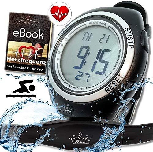 Fitness Prince© Heartbeat Puls-Uhr mit Brustgurt Herzfrequenz-Messung & Fitnesstudios ANT Trainingsbereich, Kalorienverbrauch Fettverbrennung Sportuhr Wasserdicht (Schwimmen)