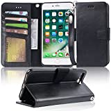 Arae Case for iPhone 7 Plus/iPhone 8 Plus, Premium PU Leather Wallet Case with Kickstand and Flip Cover for iPhone 7 Plus (2016) / iPhone 8 Plus (2017) 5.5' (not for iPhone 7/8) - Black