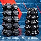 METIS Haltères Hex Dumbbells – Paire de Charges Hexagonales Caoutchoutées   Entraînements & Musculation à Domicile [2,5kg à 30kg] (15kg)