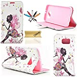 S6 Edge Case, Galaxy S6 Edge Wallet Case, Dteck(TM) Elegant Shiny Diamond PU Leather Flip Stand Case [Cards Slots & Cash Holder] Magnetic Cover for Samsung Galaxy S6 Edge (1 Fairy Butterfly)