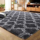 LOCHAS Luxury Velvet Shag Area Rug Modern Indoor Plush Fluffy Rugs, Extra Soft and Comfy Carpet, Geometric Moroccan Rugs for Bedroom Living Room Girls Kids Nursery, 3x5 Feet Dark Grey/White