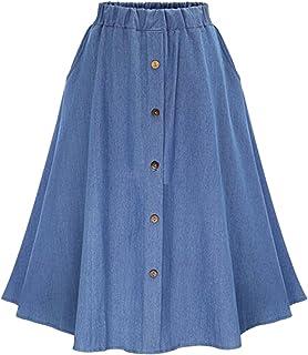 Faldas Vaqueras Plisada Azul Claro con Botones