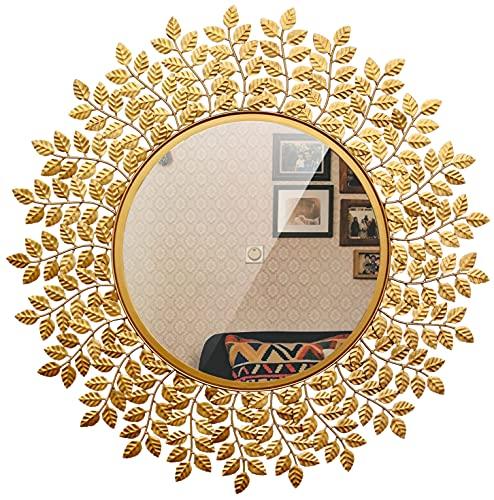 Furnish Craft Beautiful Leaf Wall Mirror (29X29 in, Gold)