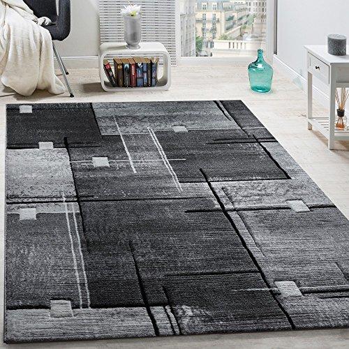 Paco Home Elegante Tappeto Firmato con Bordo A Quadri in Grigio E Nero mlange, Dimensione:80x300 cm