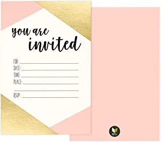 """36 Pack Pink and Gold Foil """"You Are Invited"""" Minimalist Party Invitation Card.."""