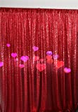 TRLYC 20Ft W by 10FT H Sparkly Red Sequin Backdrop Curtain for Wedding Halloween Thanksgiving Day Christmas