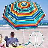 AMMSUN 6.5 ft Beach Umbrella with Sand Anchor, Portable Beach Umbrella, Outdoor Patio Umbrella UV...