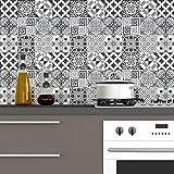 Ambiance-Live col-RV-0317_10x10cm Sticker mural carreaux de ciment, Nuance de Gris...