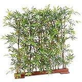 Plante Artificielle Haute Gamme Spécial extérieur/Haie Bambou Artificiel Coloris Vert - Dim : 90 x 45 x 120 cm