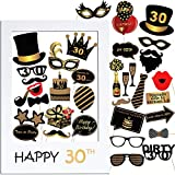 VINFUTUR Accessoires de Photomaton 30ème Anniversaire 35pcs Unisexe Funny Masquerade Kit Photobooth + Cadre Photocall pour la Décoration d'anniversaire DIY