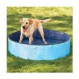 N&M Products Medium Foldable Dog Pool (32'x8') - Folding Dog/Cat Bath Tub - Collapsible Pet Spa - Blue