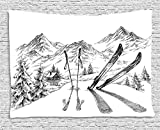 Ambesonne Sports Tapestry, Winter Seasonal Activity Skiing with Gear Set on The Mountain Peak Everest Sketchy Image, Wide Wall Hanging for Bedroom Living Room Dorm, 80' X 60', White