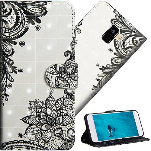 COTDINFORPara Samsung Galaxy A5 2018 FundaProtectoraEfecto3DPintadadePielPremiumPUFlipShellconMagnéticoCierreTitulardelaTarjetaalospara A5 / A8 2018 Diagonal Black Flowers YX.