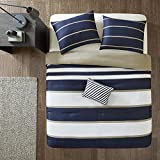 Comfort Spaces Verone 3 Piece Comforter Set Ultra Soft Microfiber Stripe Printed for College Dormitory, Guest Room Bedding, Twin, Blue 2