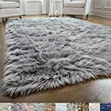 Gorilla Grip Original Premium Faux Fur Area Rug, 3x5, Softest, Luxurious Shag Carpet Rugs for Bedroom, Living Room, Luxury Bed Side Plush Carpets, Rectangle, Grey