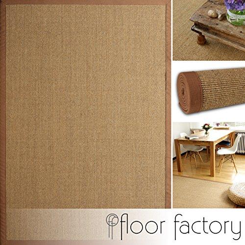 Tappeto Naturale di Sisal Mocha Marrone 80x150 cm Bordo Cotone 100% Fibra Naturale