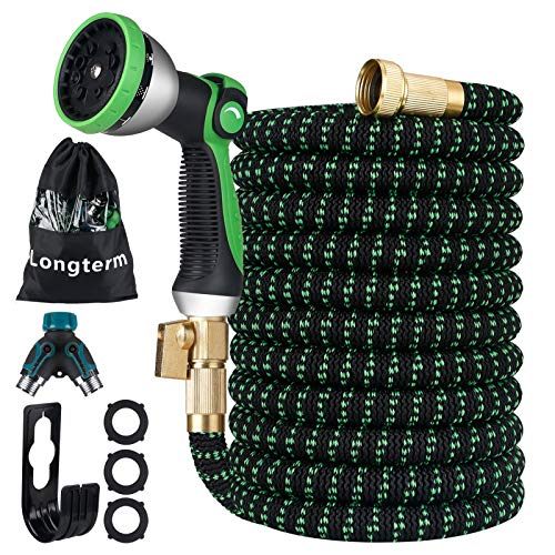 Longterm Expandable Garden Hose Set 50 ft,Strength Fabric 3750D,6 Latex Layers, 3/4' Solid Brass Fittings,10 Way Durable Zinc Water Spray Nozzle,3 Way Pocket Flexible Splitter with Storage Bag (50FT)