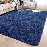 YJ.GWL Soft Shaggy Area Rugs for Bedroom Fluffy Living Room Rugs Anti-Skid Nursery Girls Carpets Kids Home Decor Rugs 4 x 5.3 Feet Light Navy