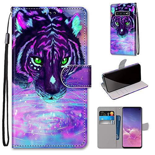 Miagon Flip PU Leder Schutzhülle für Samsung Galaxy S10e,Bunt Muster Hülle Brieftasche Case Cover Ständer mit Kartenfächer Trageschlaufe,Trinken Tiger
