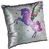 meowtastic Unicorn Pillow, Sequin Pillow Insert Included, 16'x16' Unicorn Flippy Sequin Pillow Glitter Rainbow, Plushy, Stress Relieving