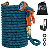 Gpeng Expandable Garden Hose, Water Collapsible Hose with 9 Function Spray Nozzle, Durable 3-Layers Latex Core with 3/4' Solid Brass Fittings, Lightweight Expanding Flexible Hose