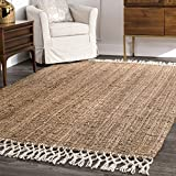 nuLOOM Raleigh Hand Woven Wool Rug, 3' x 5', Natural