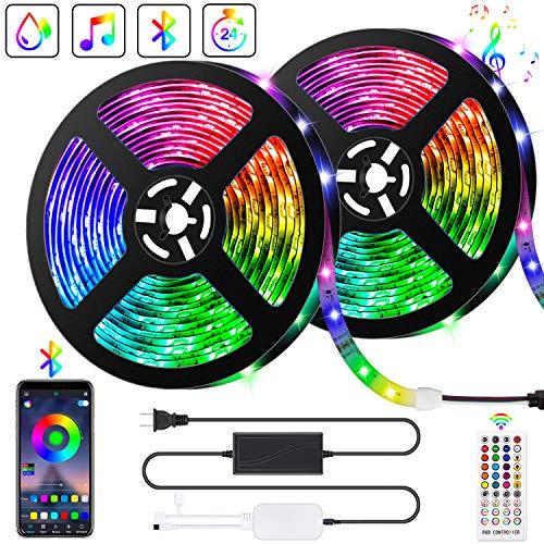 10M Bluetooth LED Streifen Musical 5050 RGB, LED Strip 300 LED Lichtband, Musikalische Funktion, Persönlicher Zeitplan, APP-Steuerung und Fernbedienung, 5050 Lampenperlen12V, Wasserdicht IP65
