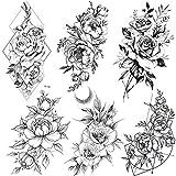 COKTAK 6 Feuilles Tatouages Temporaires De Grande Fleur Rose Noire Réaliste Femmes Autocollants du Tatouage Géométrique Pivoine Faux imperméable Tatouage éphémère Adultes Fille Sexy Lis de Pêche lys