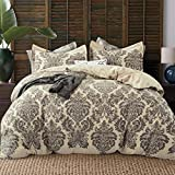 JUCFHY Duvet Cover Queen,600 Thread Count Cotton 3pcs Queen Duvet Cover Set Taupe Damask Paisley Printed on Khaki,Reversible with Zipper Closure 1 Duvet Cover and 2 Pillow Shams(Queen,Harrogate)