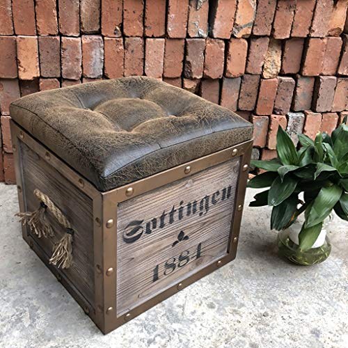 JHJD Industrial Style Legno Bagagli Sgabello Seduto Sgabello Bagagli Sgabello Vintage Piazza Legno...