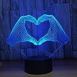 Fantastica luce notturna 3D:Questa lampada in 2D crea un'illusione ottica in 3D.Attraverso il sensore di contatto potete impostare il cambio colore automatico oppure selezionare voi stessi manualmente il colore desiderato: rosso, verde, blu, giallo, ...